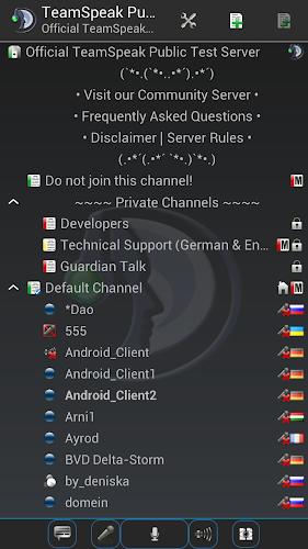 TeamSpeak 3 Android App Screenshot