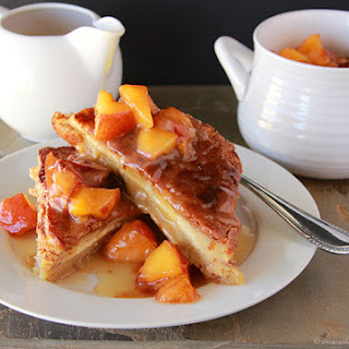 Baked French Toast with Peaches and Butter Syrup