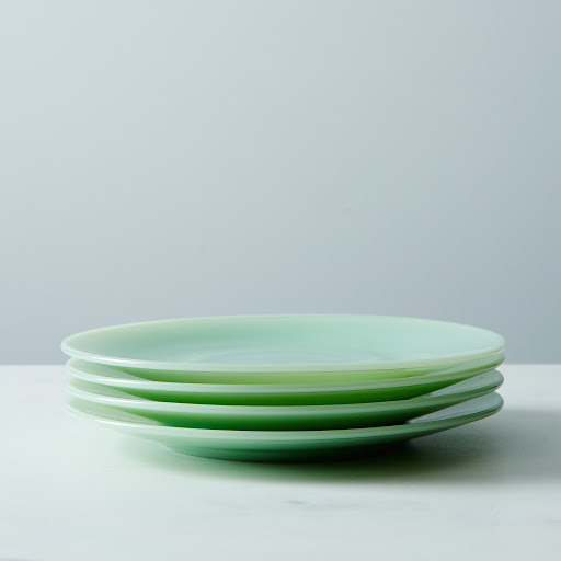 Jadeite Glass Cake Plates (Set of 4)