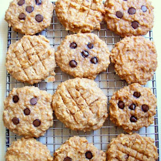 Peanut Butter Banana Oat Breakfast Cookies with Carob/Chocolate Chips.