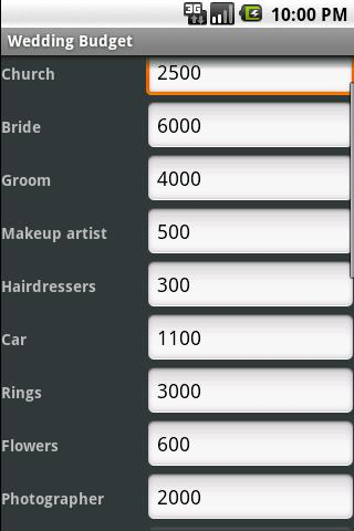 Wedding Budget- screenshot
