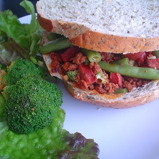 Broccoli, Green Bean, and Turkey Frank Sandwich.
