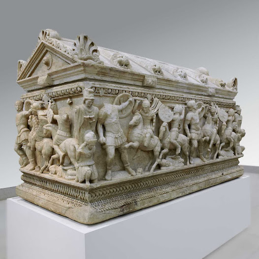 sarcophagus depicting battle Ancient marbles classical sculpture and  classical sculpture and works of  a fragment of a massive sarcophagus depicting the mythological battle between.