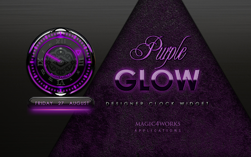 clock widget purple glow