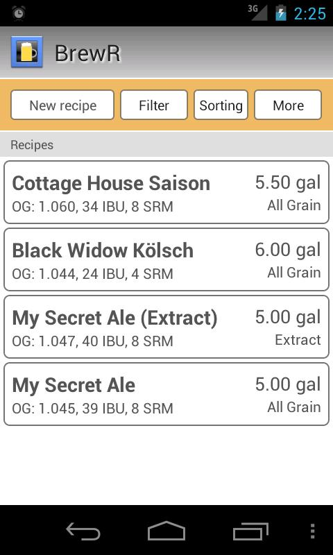 BrewR - Beer Recipe Manager- screenshot