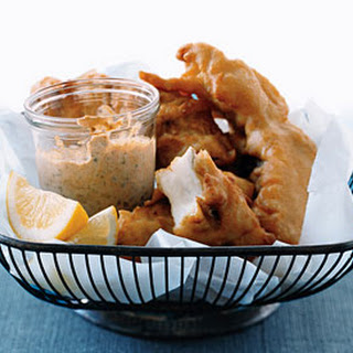 Beer-Battered Fish with Smoked-Paprika Mayonnaise.