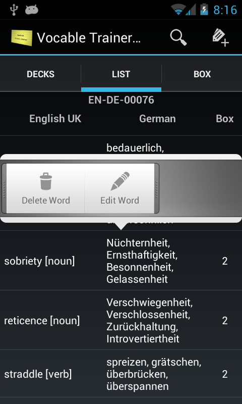 Vocabulary Trainer Flashcards - screenshot