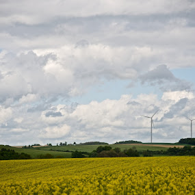 Windmills of Haute Marne on a cloudy day by Peter Van de Kamp - Landscapes Cloud Formations