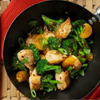 Stir Fried Chicken with Mandarin Oranges and Broccoli.