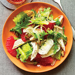 Green Salad with Chicken and Pink Grapefruit.