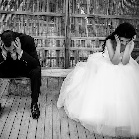 Dark times by FIWAT Photography - Wedding Bride & Groom ( sadness, black and white, bride and groom )