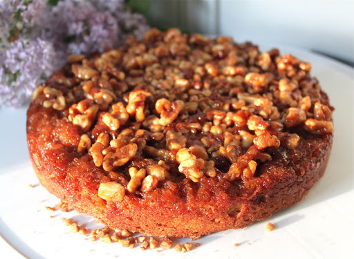 Maple Walnut Upside Down Persimmon Cake