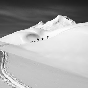 ascent by Joel DeWaard - Black & White Landscapes ( artist point, snowshoe, climb, winter, trail, snow, snowscape, trek, hike, mt baker )