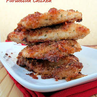 Oven Fried Parmesan Chicken.
