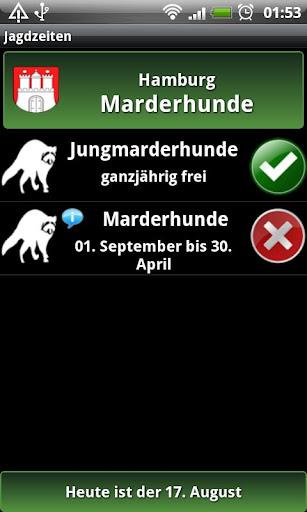 Screenshot for Jagdzeiten.de App in Hong Kong Play Store