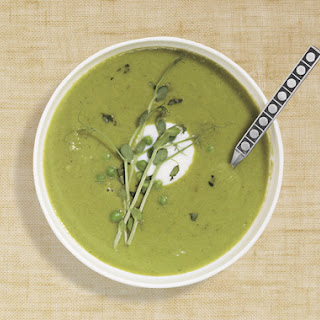 Green Pea Soup with Tarragon and Pea Sprouts.