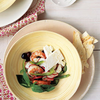 Marinated Shrimp with Mediterranean Salad.