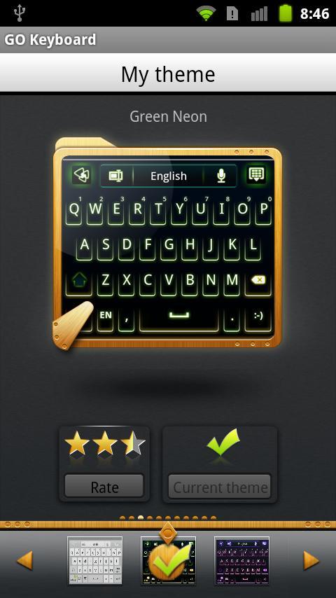 GO Keyboard Green Neon Theme - screenshot