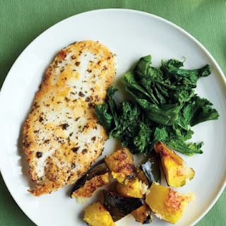 Chicken Cutlets with Mustard Greens and Roasted Squash.