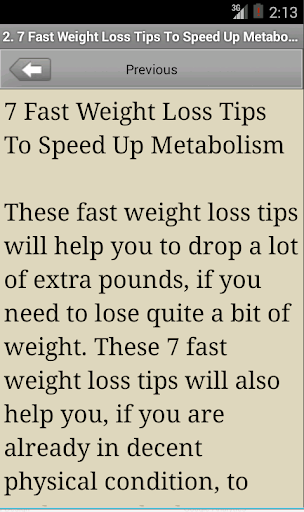 Fast Weight Loss Tips