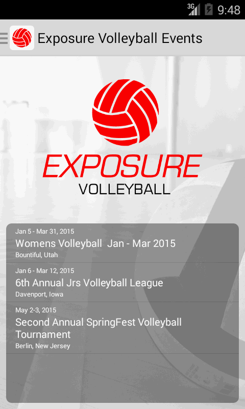 Exposure Volleyball Events- screenshot