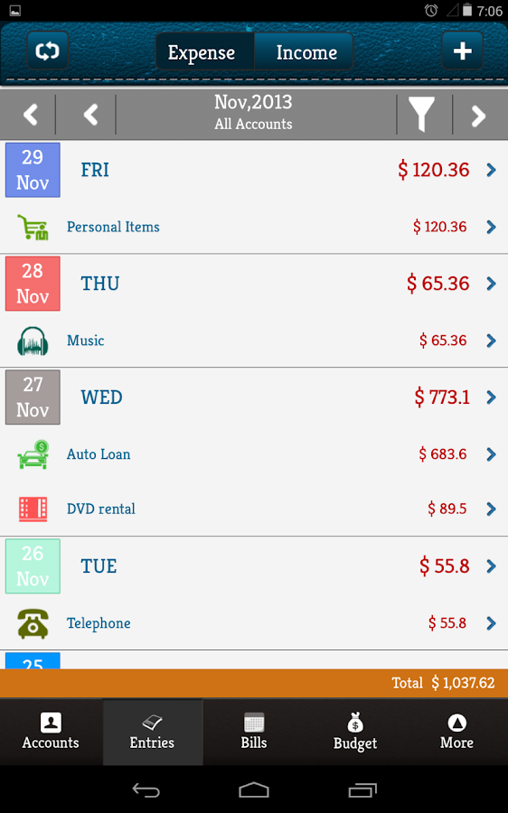 Money Log Free Budget Manager - screenshot
