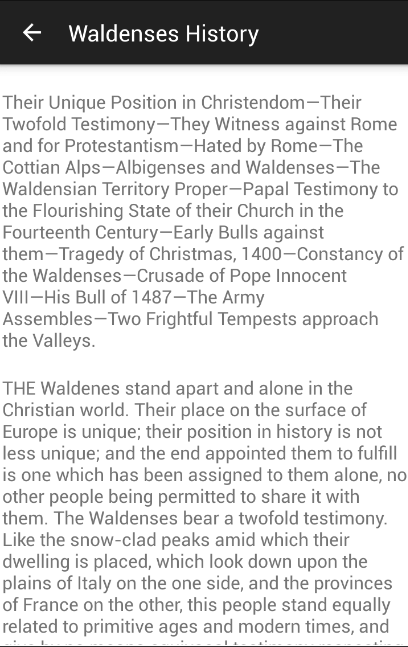 History of the Waldenses- screenshot