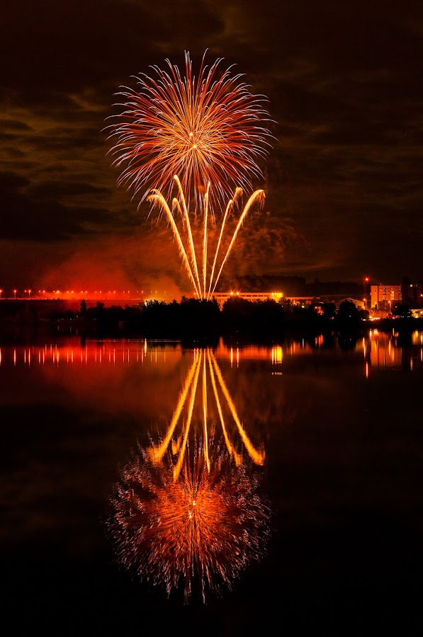 Fireworks 2013 in Pilsen 10 by Martin Zenisek - Abstract Fire & Fireworks ( mirror, water, pilsen, fireworks, night,  )