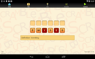 Screenshot of Med Term Scramble