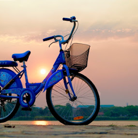 Bicycle at Sunset by Mark Pope - Transportation Bicycles ( orange, blue, sunset, thailand, bicycle )