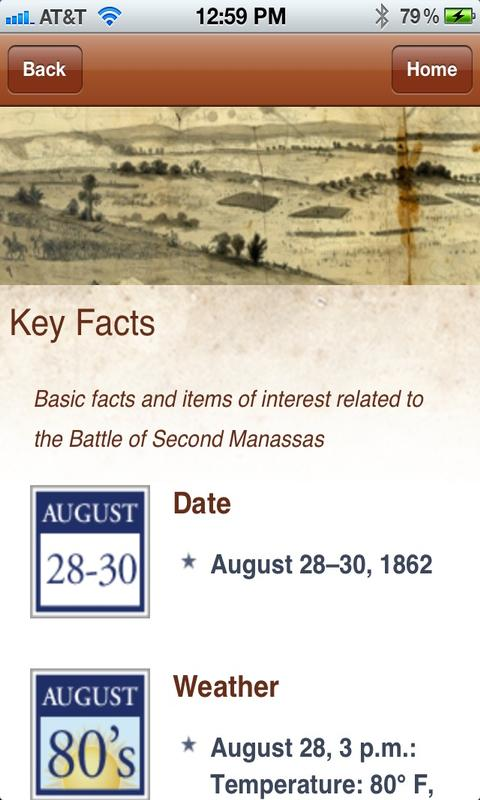 Second Manassas Battle App- screenshot