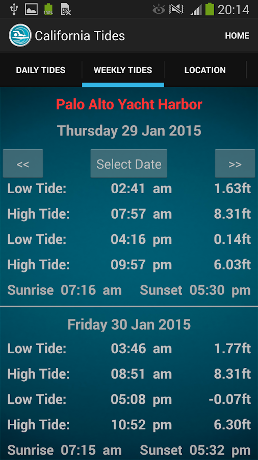 California Tide Times- screenshot