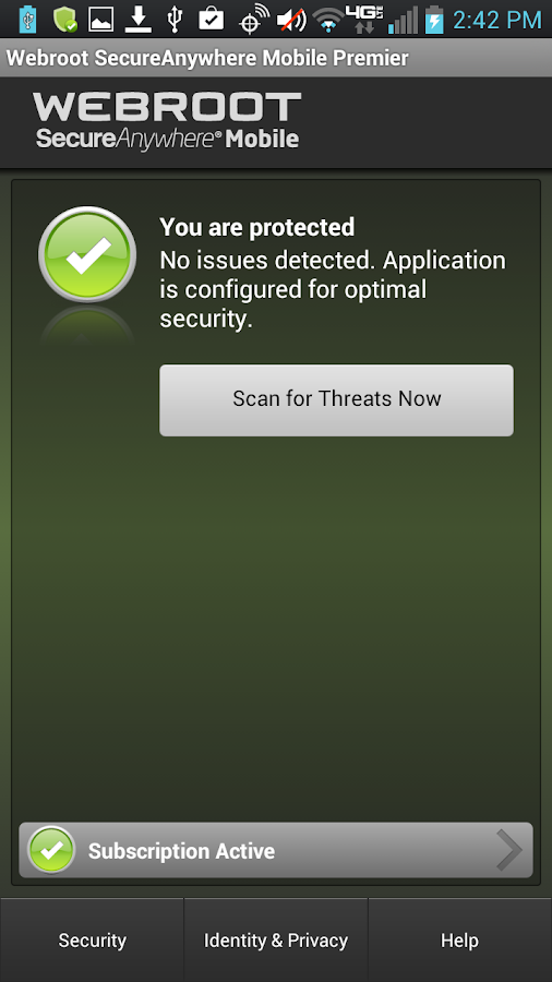 SecureAnywhere Antivirus: captura de pantalla
