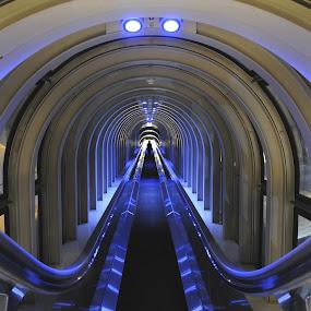 Osaka Umeda Sky Bldg by Leka Huie - Buildings & Architecture Other Interior ( interior, japan, blue, escalator, , Urban, City, Lifestyle, vertical lines, pwc, Architecture, Ceilings, Ceiling, Buildings, Building, serenity, mood, factory, charity, autism, light, awareness, lighting, bulbs, LIUB, april 2nd, #GARYFONGDRAMATICLIGHT, #WTFBOBDAVIS )