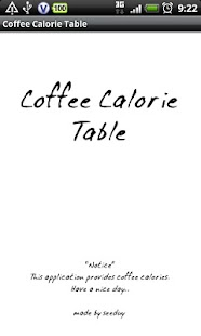 Coffee Calorie Table - screenshot thumbnail