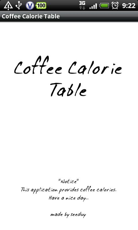 Coffee Calorie Table - screenshot