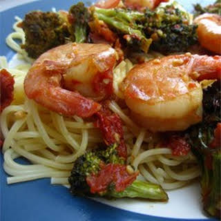 Shrimp, Broccoli, and Sun-dried Tomatoes Scampi with Angel Hair.