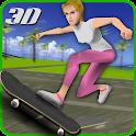 Crazy skater girl skateboard icon