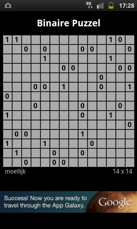 Binary Puzzle / Takuzu - screenshot