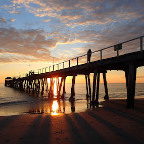 Sunset Shadows by Pamela Howard - Buildings & Architecture Bridges & Suspended Structures ( clouds, sand, reflection, structure, henley beach, sea, adelaide, beach, jetty, shadows, sky, sunset, australia )