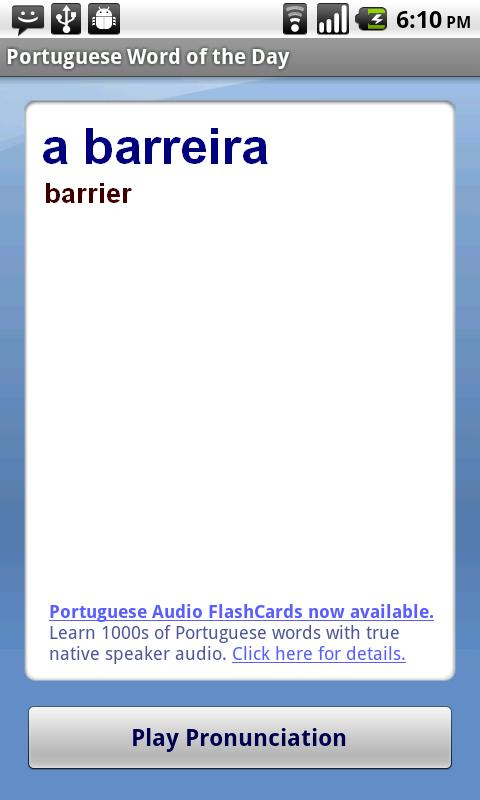 Portuguese Word of the Day- screenshot