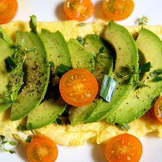 Fresh Herb & Goat Cheese Omelet with Avocado & Pear.