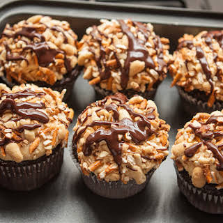 Chocolate, Peanut Butter and Pretzel Cupcakes.
