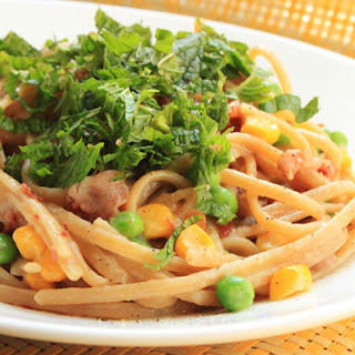 Whole-Wheat Linguine With Pancetta, Peas, Corn, and Mint