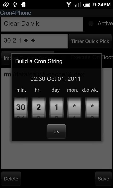 Cron4Phone - screenshot