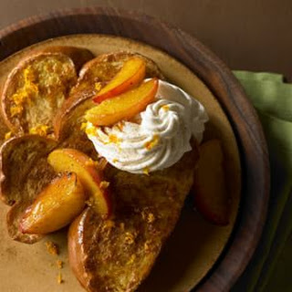 Cardamom French Toast with Grilled Peaches and Mascarpone (Green Cardamom Pods).