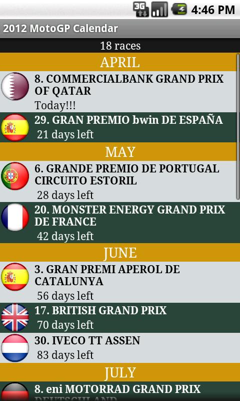 2014 MotoGP Calendar - screenshot