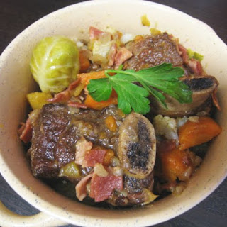 Cinnamon Braised Short Ribs with Seasonal Vegetables.