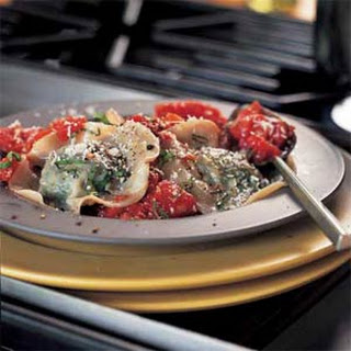 Spinach Ravioli with Tomato Sauce.