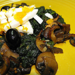 Sauteed Spinach with Mushrooms and Eggs.